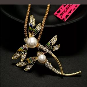 Betsey Johnson Double Dragonfly Necklace
